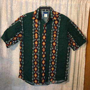 men wrangler western short sleeve green shirt